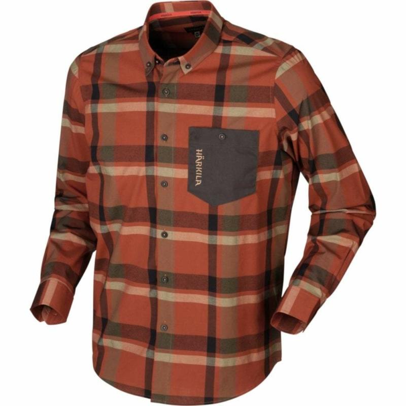 Harkila Amlet kockás ing - Härkila Amlet L/S shirt Dark Burnt Orange check