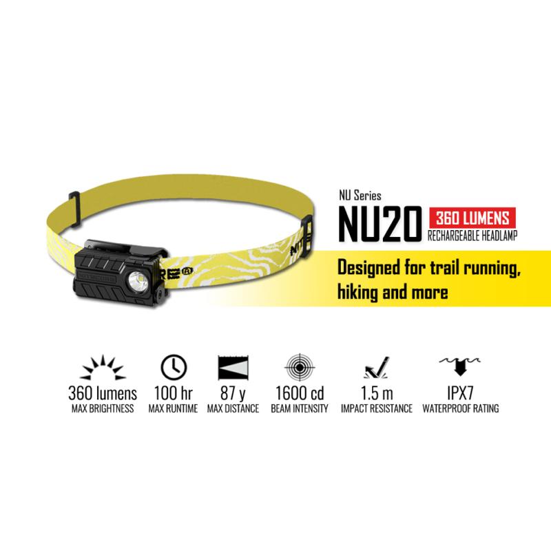 Nitecore Fejlámpa NU20 Akkumulátoros Fekete (360 lumen)